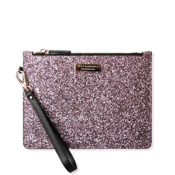 Alice Pleasance Wristlet Dusty Pink Glitter - Front